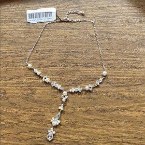 NWT Cezanne pearl crystal teardrop necklace